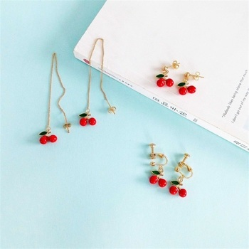 Japanese and Korean version of the sweet cute little cherry earrings enamel fashion long short earrings.jpg 350x350 - Japanese and Korean version of the sweet cute little cherry earrings enamel fashion long / short earrings earless ear clip