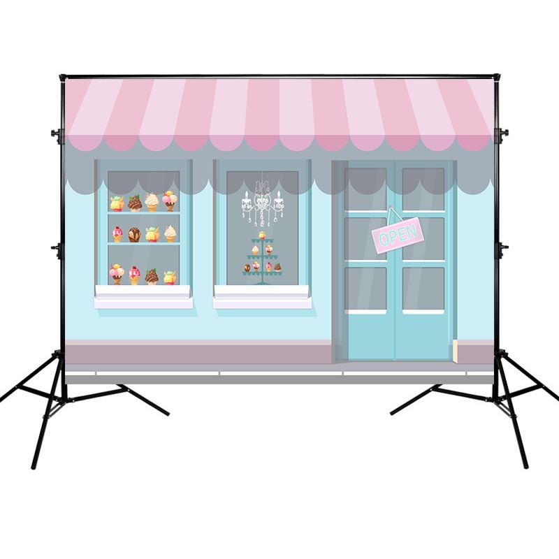 Mehofoto Photography Backdrops Birthday Party Photographic Background Ice Cream Blue Theme Backdrop for Photo Studio