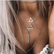 Simple Necklace Choker Retro Geometric Necklaces Women Kolye Hollow Multi-layer Metal Chain Bijoux Femme Collier Chocker Jewelry