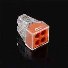 PCT-104 100pcs Quick Wire Connector Teminator Lug 24A 400V 2.5mm^2 4 Pin Spring Faston Terminal Block Connector Set Electric