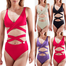 cd1e0eb33f 2019 summer Women Swimwear Beachwear 2 Pieces Solid Bandage Bikini Swimsuit  Bathing Suit Halter Female Vintage