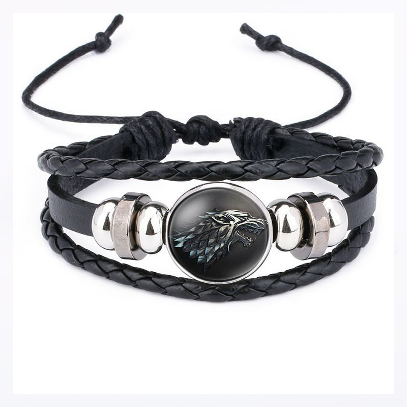 Game Of Throne Bracelet Cosplay Prop Jewelry Accessories Badge 9 Family Logo Bangle Black Gem Leather Hand Chain