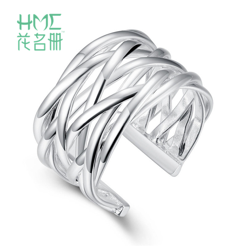 1pc Fashion Silver Braided Mesh Jewelry Rings Ladies&Finger Open Adjustable Ring Women&Girls Jewelry Accessories Cocktail Party