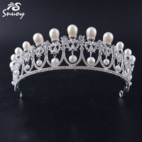 Snuoy Gold Silver Wedding Crown Hot Sale Rhinestone Pearl Pageant Tiaras And Crowns Luxury Hair Jewelry