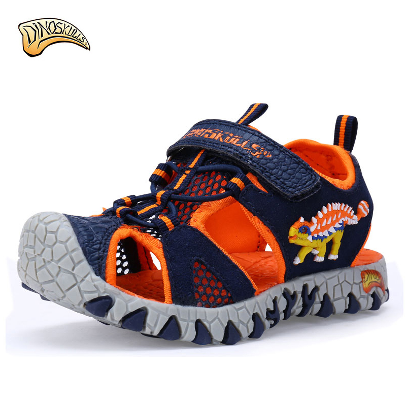 Dinoskulls boys summer sandals Kids Children Beach sandals Boys Sandals Summer 2018 Toddler shoes Leather Shoes Dinosaur Sandals