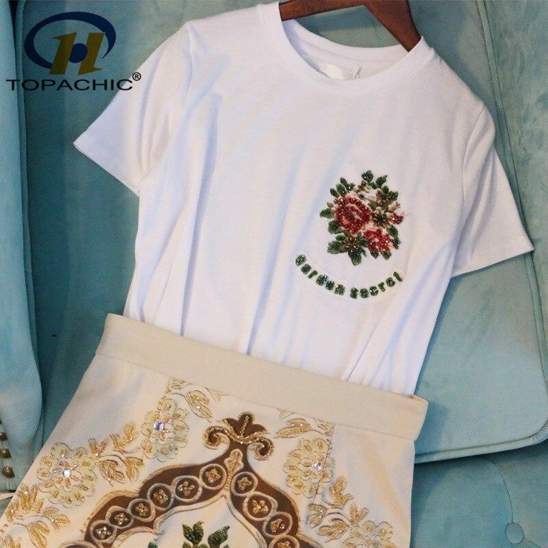 6 13 2019 Summer High quality fashion Casual female Diamonds decoration Short sleeve O Neck T