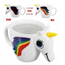 Фотография Lekoch Unicorn Mug Creative Changing Color Coffee Mug Colorful Creamic Bone China Colorful Cup Cartoon Magic Mugs Christmas Gift