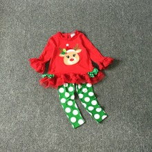 Free Shipping 8sets/lot Rare Editions 3M-6X Baby Girl's Christmas Elk Appliqued Clothes and Polka Dot Legging Set