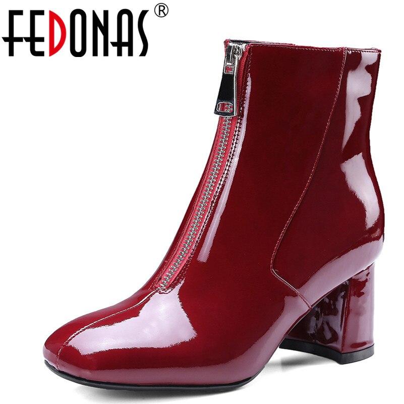 6aa7242cf Oficina Señora Tacón vino Mujer Moda Chelsea Caliente De Cuadrados Cuero  Zapatos Otoño Invierno Fedonas Toe Tinto Botas Alto ...