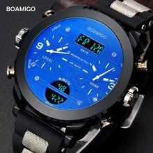 Hommes montres militaires sport montres BOAMIGO marque 3 fuseau horaire montres pour hommes LED numérique montres 2017 cadeau horloge avec boîte