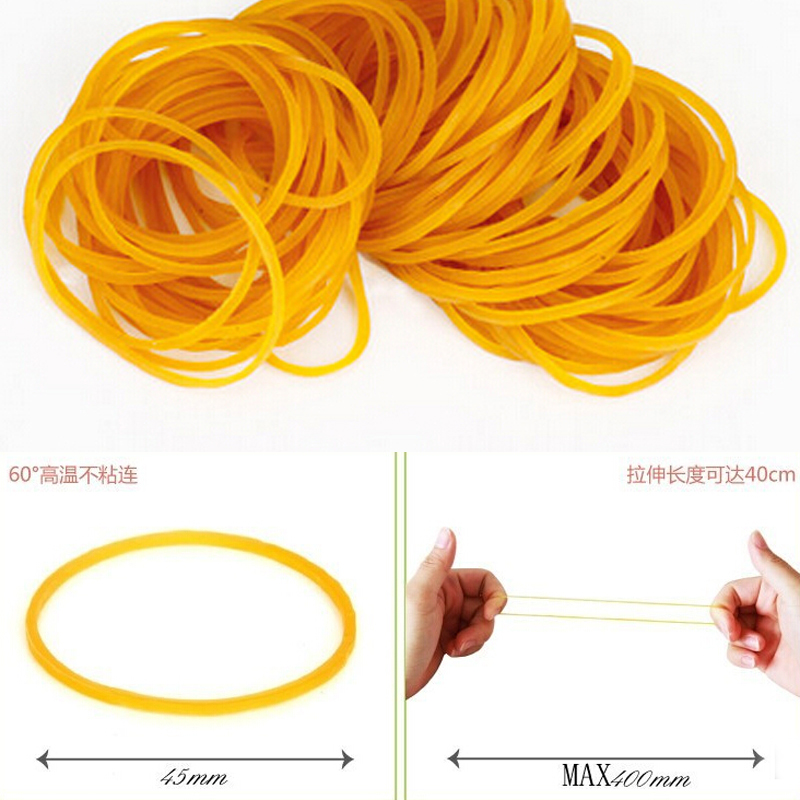 100pcs//pack Rubber Bands For School Office Household Package Anti-aging Rubber Ring Strong Elastic Yellow Color