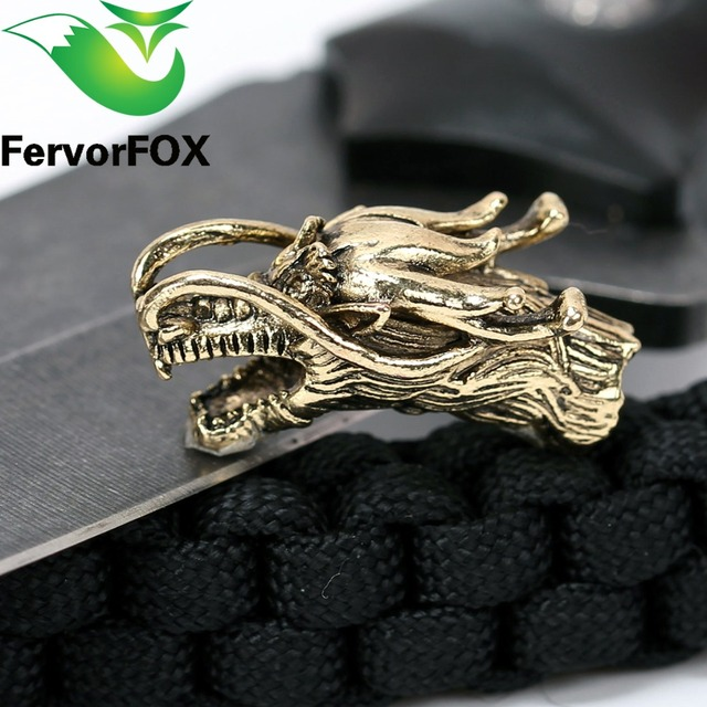 1PC Chinese dragon Metal Beads Camping Alloy For Outdoor Knife Bracelet DIY Paracord Accessories