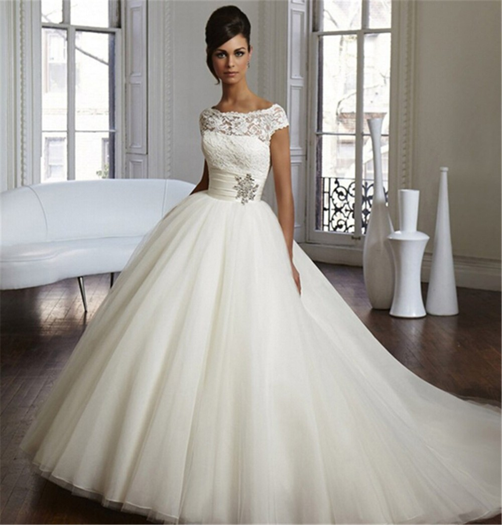 9033 2015 2016 lace White Ivory Wedding Dresses for brides plus size ...