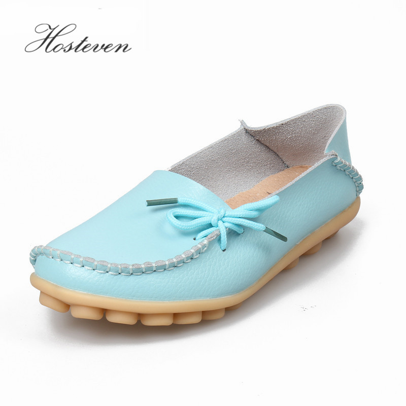 цена на Hosteven Women Real Leather Shoes Moccasins Mother Loafers Soft Leisure Flats Casual Female Driving Ballet Footwear