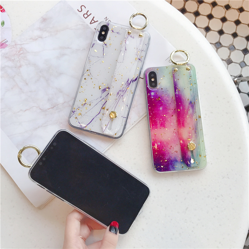 6 SoCouple Wrist Strap Soft TPU Phone Case For iphone 7 8 6 6s plus Case For iphone X Xs max XR  Marble Gold Foil Holder Case