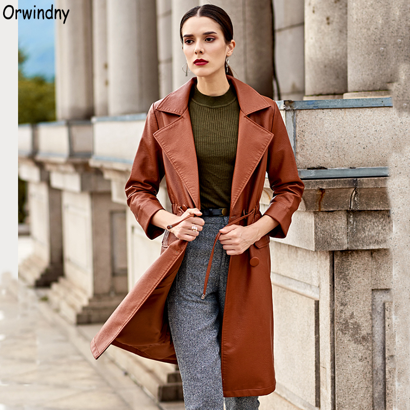 Orwindny Spring Autumn Women Long Trench Sashes Slim Casual   Leather   Clothing Brown Female   Leather   Coat Outerwear Faux   Leather