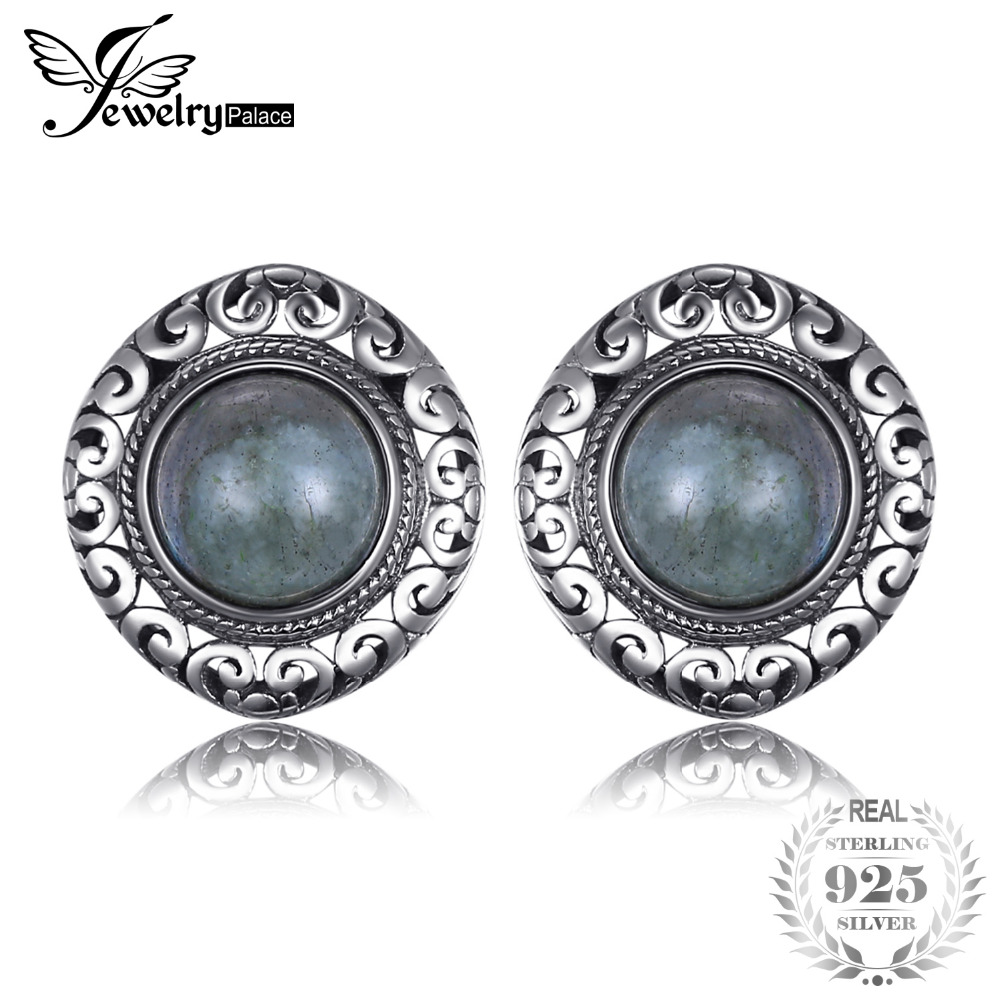JewelryPalace Vintage 2.4ct Genuine Labradorite Carved Stud Earrings Solid 925 Sterling Silver Fine Jewelry For Women Fashion