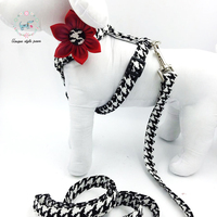 Dog Harness With Flower And Basic Dog Leash Adjustable Buckle Machine Washable Pet Necklace S M