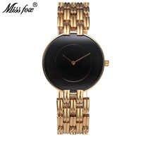 MISSFOX Schwarz Einfache Uhr Frauen Arbeiten Beiläufige Minimalistische Uhr D.W Marke Stil Uhr Damen Gold Armbanduhren Für Weibliche Uhr