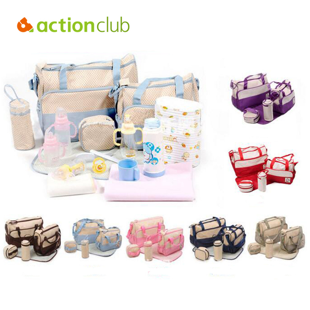 7 Colors 5PCS/Set High Quality Tote Baby Shoulder Diaper Bags Durable Nappy Bag Mummy Mother Baby Bag/  baby bags for mom
