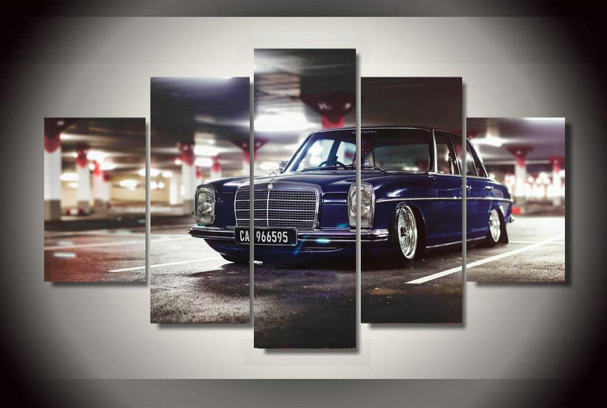 framed printed blue car painting on canvas room decoration print poster picture canvas free shipping