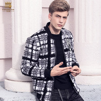 Free Shipping fanzhuan New 2017 fashion male Men's coat Black and white checked jacket winter plus velvet baseball Plush 710208