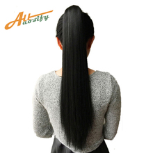 All 24'' Long Black Synthetic Ponytail Long Hair Natural Fake Hair Tail Hairpieces Women Hairstyles Heat Resistant Fake Hair