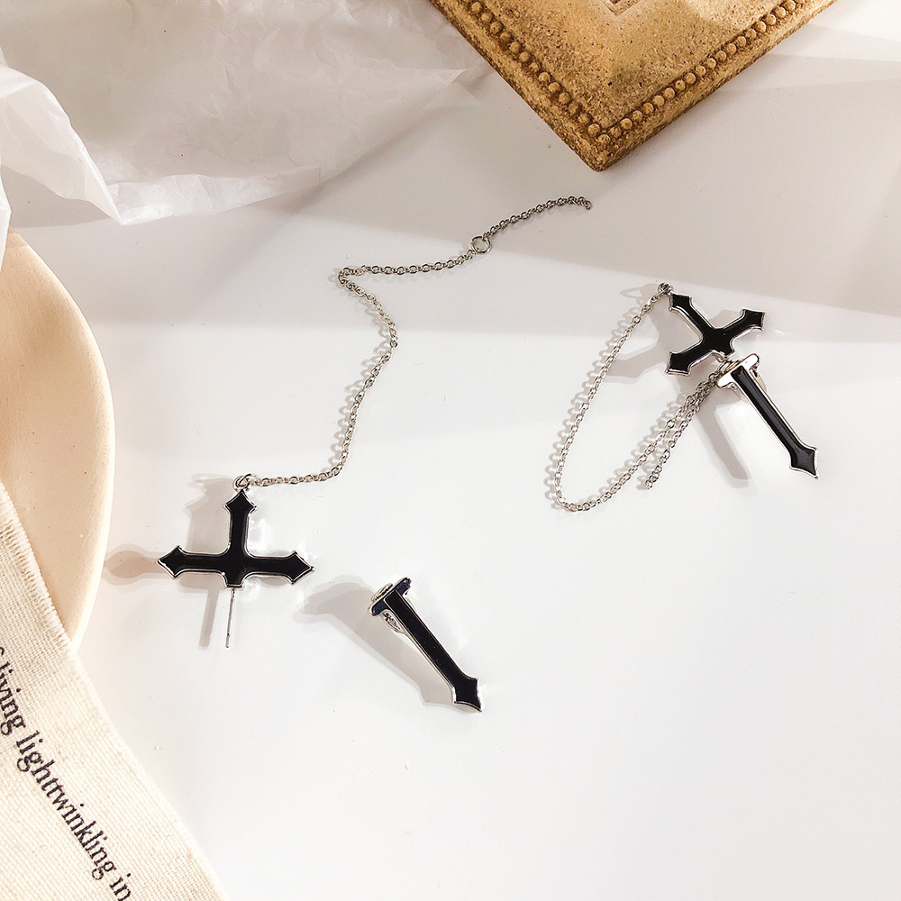 Punk Viking Cross Earrings Men Women Tassels Pendant Jewelry 2019 in Drop Earrings from Jewelry Accessories