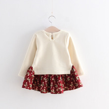 Belababy Autumn Cartoon Cute Bunny Rabbit Dress Floral Bow Long Sleeve Girl Dresses Cotton Patchwork Girls Clothing Kids Clothes