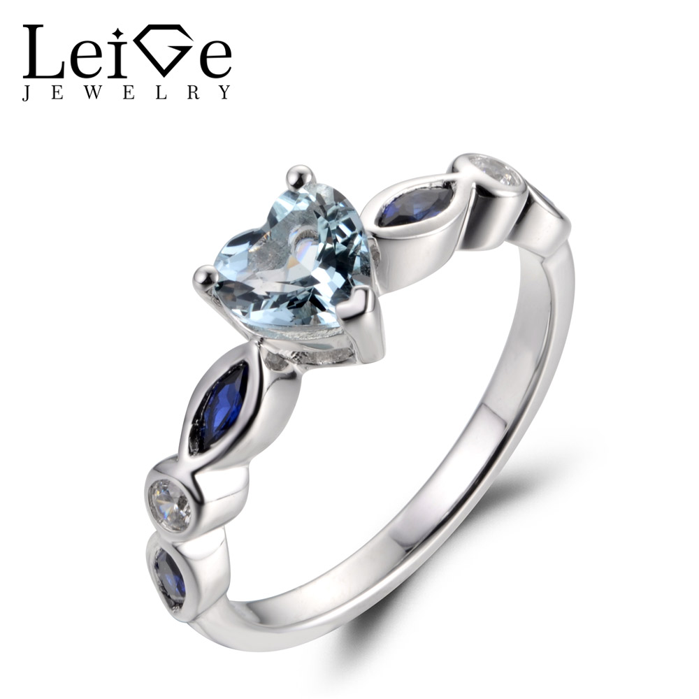 LeiGe Jewelry Natural Blue Aquamarine Rings Promise Rings March Birthstone Heart Shape Gemstone 925 Sterling Silver for WomenLeiGe Jewelry Natural Blue Aquamarine Rings Promise Rings March Birthstone Heart Shape Gemstone 925 Sterling Silver for Women