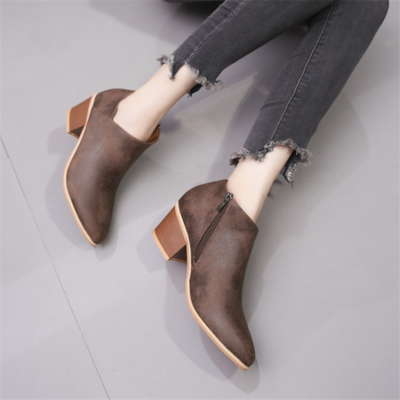 COOTELILI Ankle-Boots Shoes Woman Oxfords High-Heels Autumn Plus-Size Women Ladies Thick