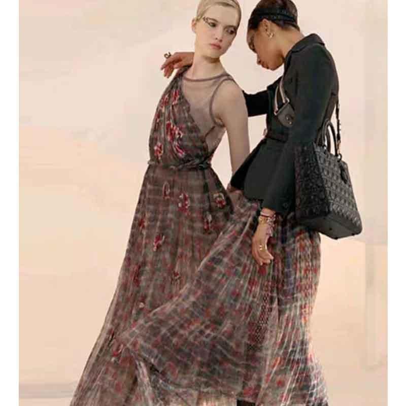 Cosmicchic piste maille longue robe Designer fleur imprimé plissé robe de réservoir doublure en soie de haute qualité longue robes de soirée 2019 femmes
