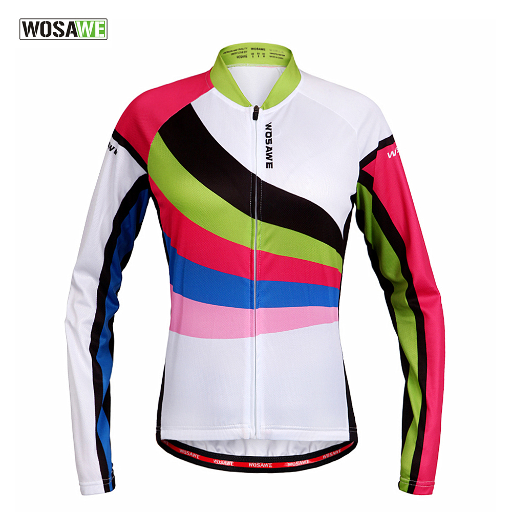 WOSAWE Women Cycling Jersey Long Sleeve Breathable Spring & Autumn Bike Shirt Bicycle Wear Racing Riding Tops