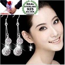 OMHXZJ Wholesale Fashion jewelry Drops water crystal AAA zircon Bohemia long tassel pendants 925 sterling silver Earrings YS36