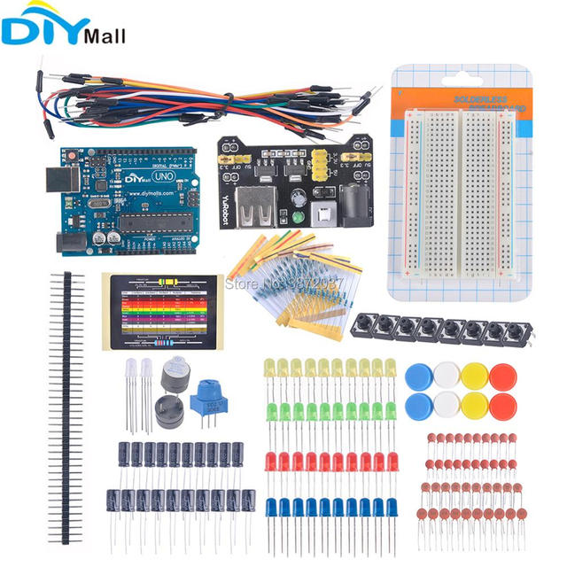 DIYmall UNO R3 Board Electronic Fans Kit Breadboard Cable Button Switch Power Module for Arduino