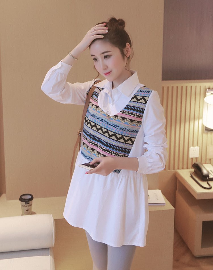 Maternity Blouses for Pregnant Women False Two Pieces Long-sleeved Pregnancy Tops Clothes Plus Size Solid Maternity Dres Shirt