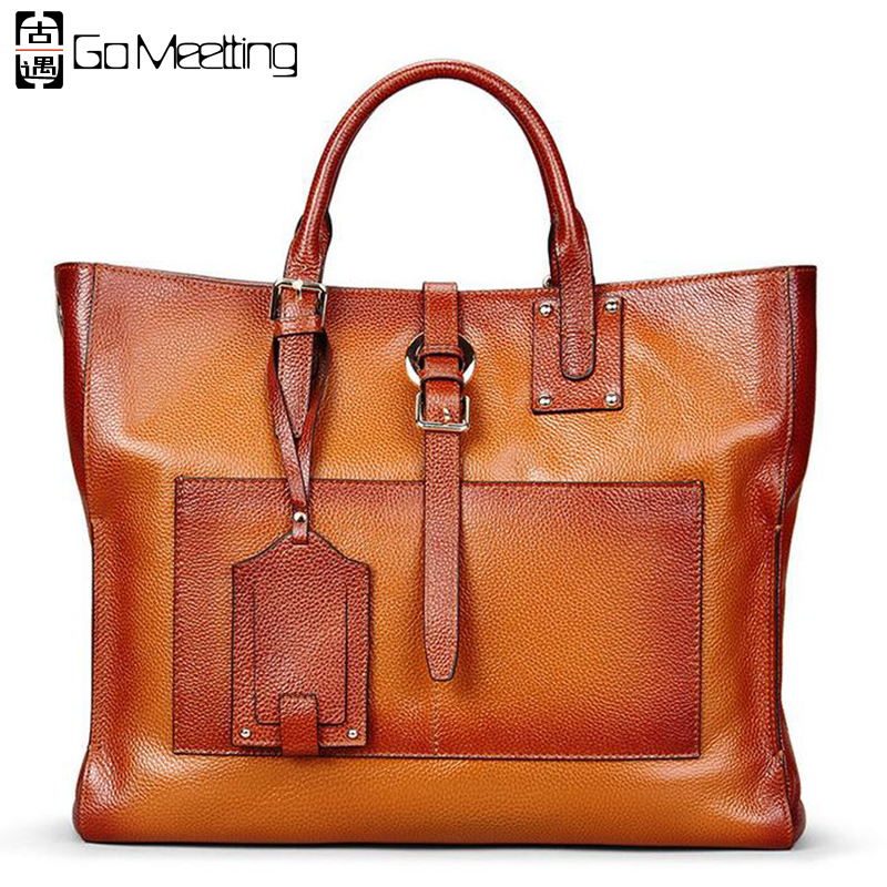 Go Meetting Brand Genuine Leather Women Handbags High Quality Cow Leather Women Shoulder Bag Vintage Messenger Tote Bag WS69 high quality women s 100% genuine leather brand handbag vintage dumplings shoulder bag women s shell handbags tote dhl fedex ems