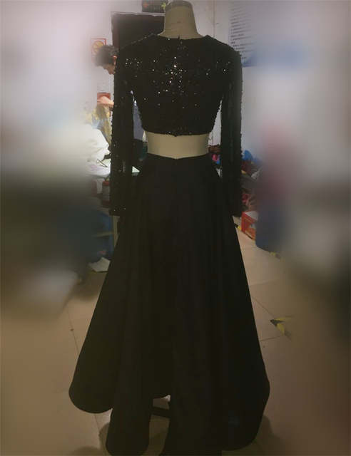 d118d1d3c998 placeholder unique black masquerade dress two pieces long sleeves Sexy prom  dresses 2017 satin beaded long formal