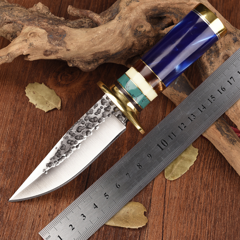 Handmade outdoor hunting knife Hand Rubbed Satin Blade Custom bowie Fixed Knives camping Tool Leather Sheath