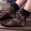 Sexy Encaje Retro muchacha de Las Mujeres calcetines Dulce Lolita princesa del cordón calcetines elásticos de Moda Lady Soft Negro Volantes De Encaje Corto Tobillo calcetines