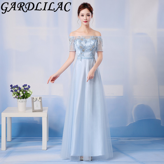 Gardlilac Tulle Applique Light Blue Long Bridesmaid Dress Boat Neck Half  Sleeve Wedding Party Dress 47e8bfc66752