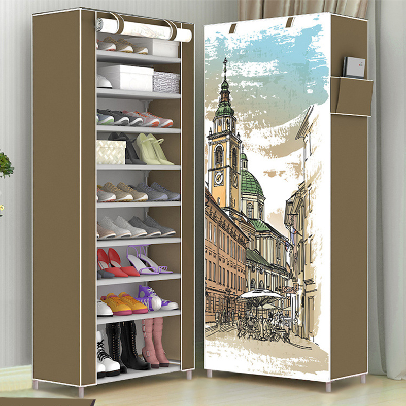 DIY Large Capacity Shoe Rack No-Fabric Standing Storage Rack Prevent Dust Shoe Organizer Shoes Cabinet Children's Shoe Rack