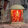 Ferro forjado boneca Diy casa mini modelo montado construção Handwade estrela presente de aniversário de brinquedo de madeira casa de bonecas história