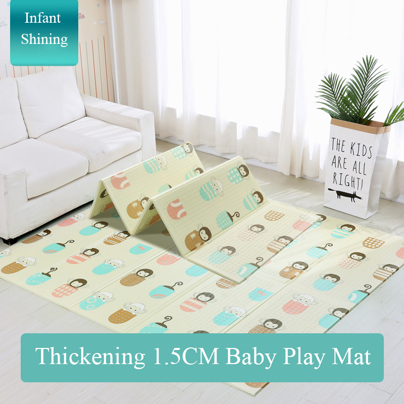 Bébé brillant 1.5 CM épais bébé tapis tapis de jeu pliable enfant tapis de jeu 200*180 CM grand enfant ramper tapis Puzzle couverture jeu Pad - 3