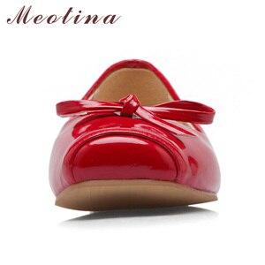 Image 3 - Meotina Frauen Schuhe Ballerinas Frauen Wohnungen Bogen Karree Ballerina Flache Boot Schuhe Müßiggänger Schuhe Große Größe 33 46 Zapatos Mujer