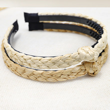 New Hot Women Straw Weaving Twist Braided Knot Hairbands Stretch Elastic Headbands Handmade Personal