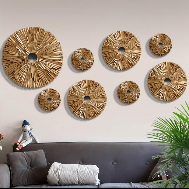 European Creative 3D Sun Round Resin Wall Stickers Resin Wall Hangings  Living Room TV Backdrop DIY Wall Ornament Decorations