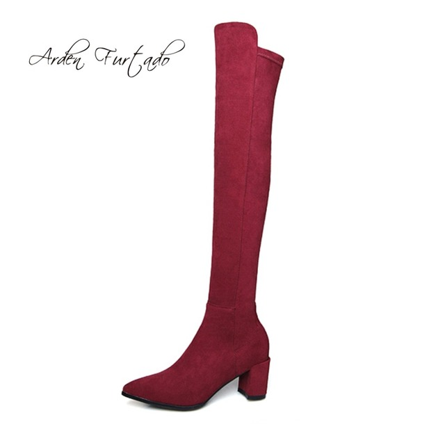 e929f762a00 US $60.18 49% OFF|autumn winter grey over the knee boots burgundy black  suede chunky lower heels heels 5cm size 41 42 women's shoes Stretch  boots-in ...