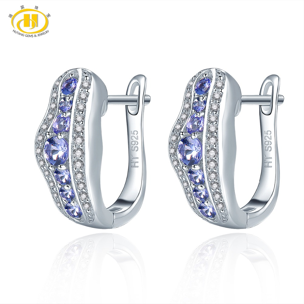 Hutang Tanzanite Women's Clip Earrings Solid 925 Sterling Silver Natural Gemstone Fine Elegant Jewelry for Gift New Arrival