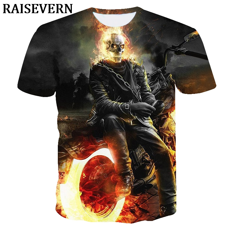 3D T Shirt Homens Queima de Fogo Do Crânio Da Motocicleta Gótico Anime Camiseta Tees Tops Verão Camisa Masculina Camisa Camiseta de hombre EUR
